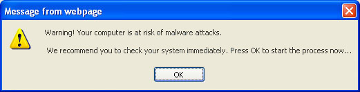 Warning! Your computer is at risk of malware attacks.